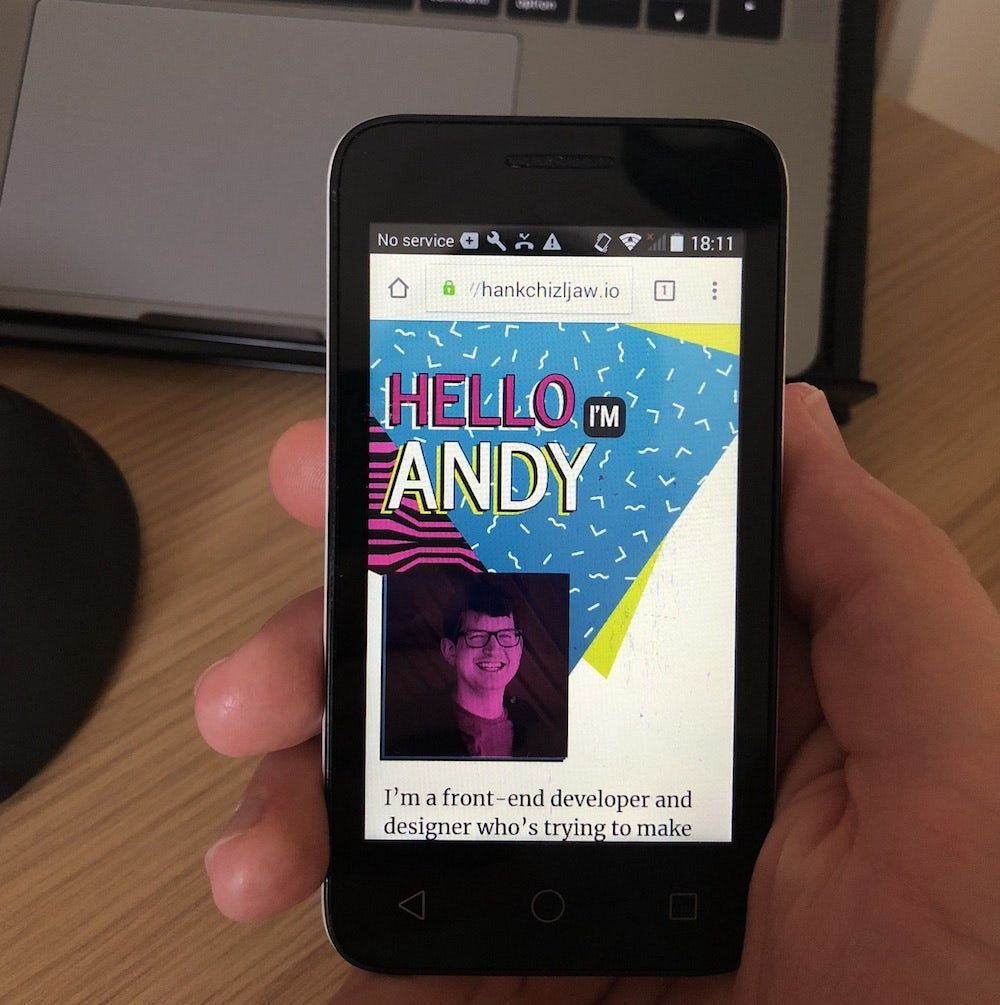 A cheap £20 Android phone with hankchizljaw.io on it