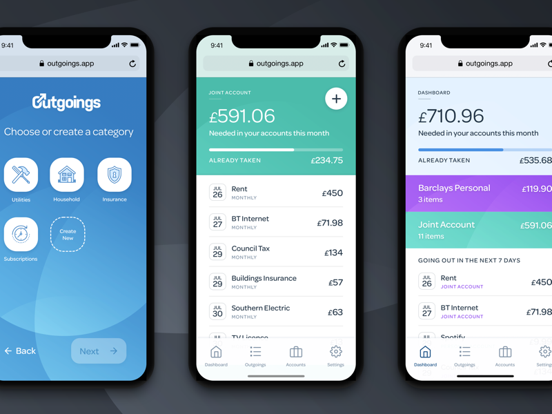 A screenshot of the upcoming Outgoings app